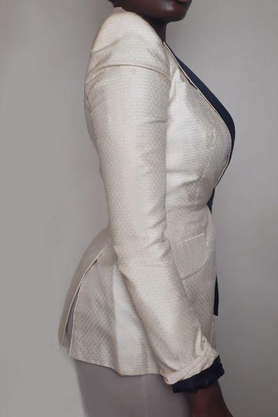 Alexander McQueen Cream & Black Tuxedo Jacket Bl 6