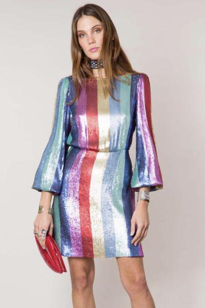 RIXO London Sequin rainbow dress 2