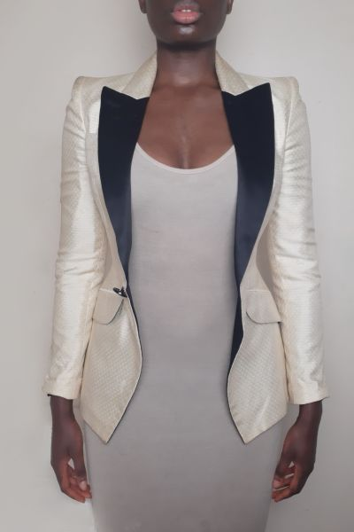 Alexander McQueen Cream & Black Tuxedo Jacket Bl 4