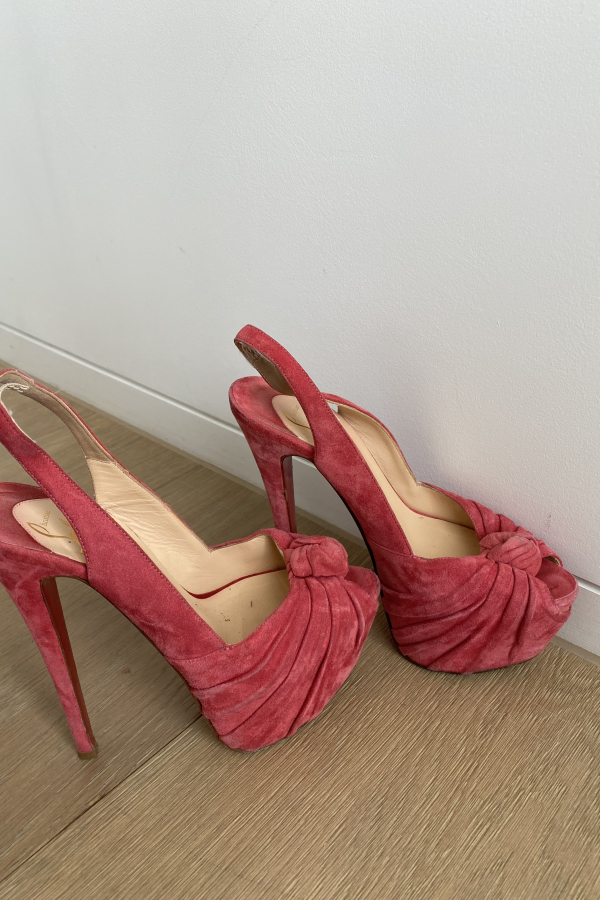 Christian Louboutin Suede pink summer shoes 2