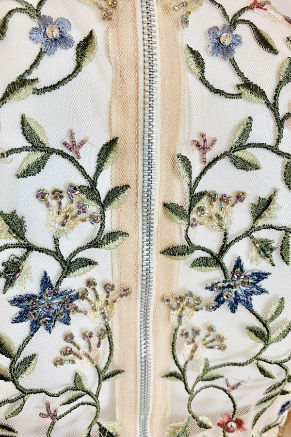 Needle & Thread Cream Embroidered Midi Dress 4 Preview Images