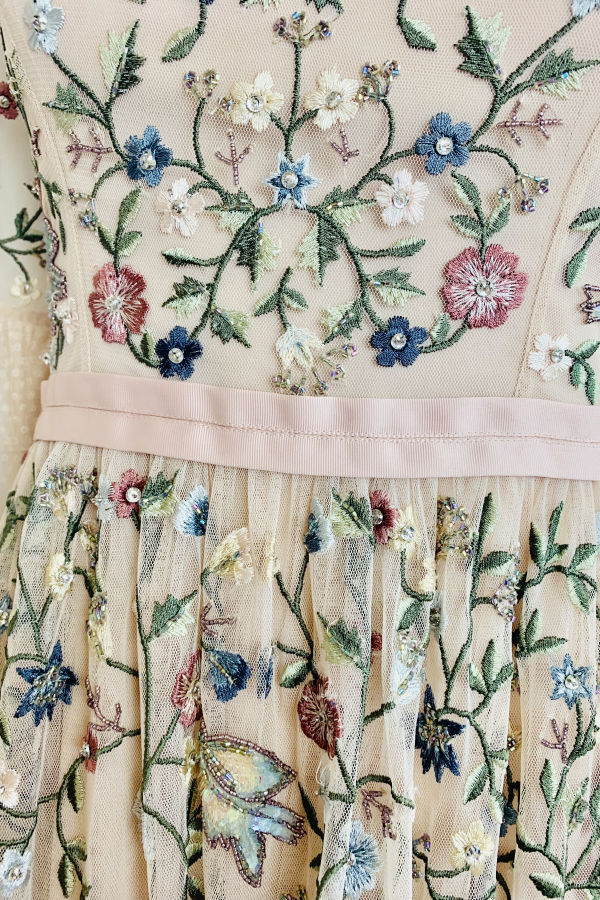 Needle & Thread Cream Embroidered Midi Dress 3 Preview Images