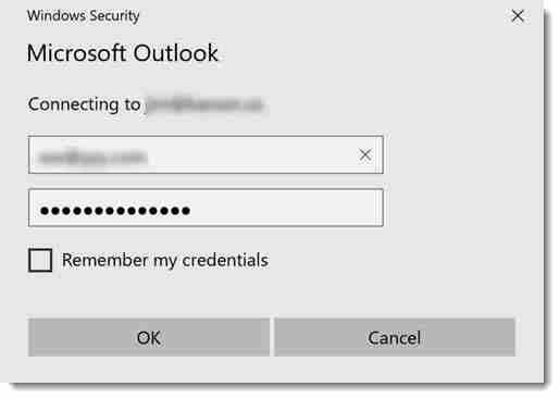 outlook password prompt outlook 2019