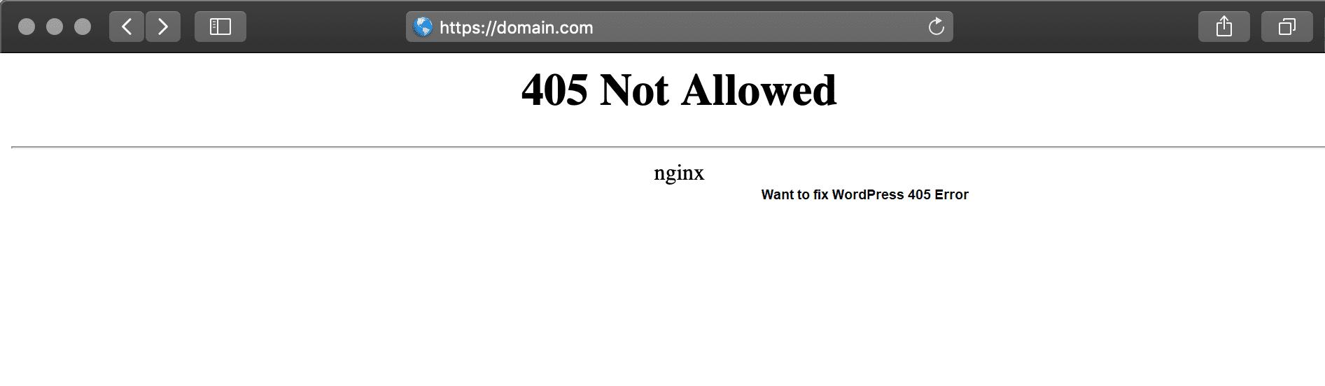 405 Not allowed error