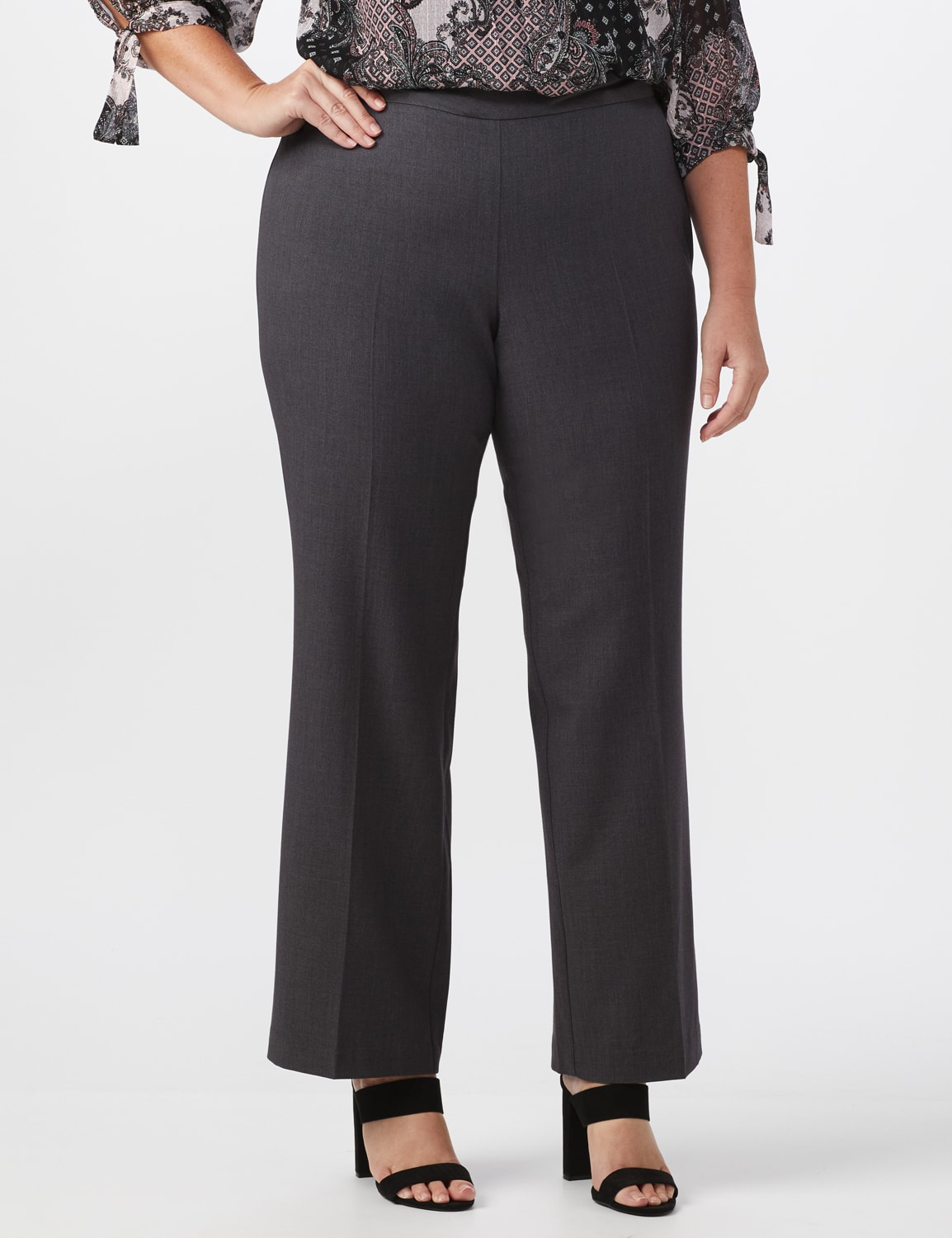 Roz & Ali Plus Secret Agent Tummy Control Pull On Pants - Average Length-Plus - grey - Front