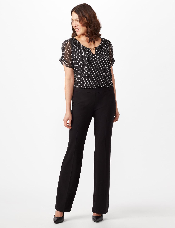 Roz & Ali Secret Agent Pull On Tummy Control Pants - Short Length - Misses - Black - Front