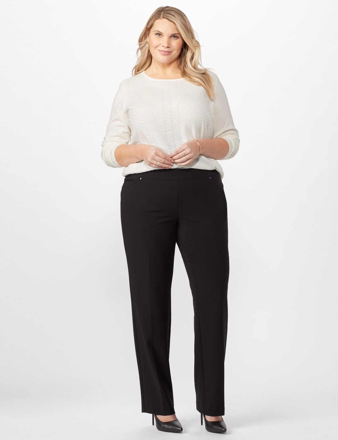 Roz & Ali Secret Agent Pull On Tummy Control Pants - Short Length - Plus - Black - Front