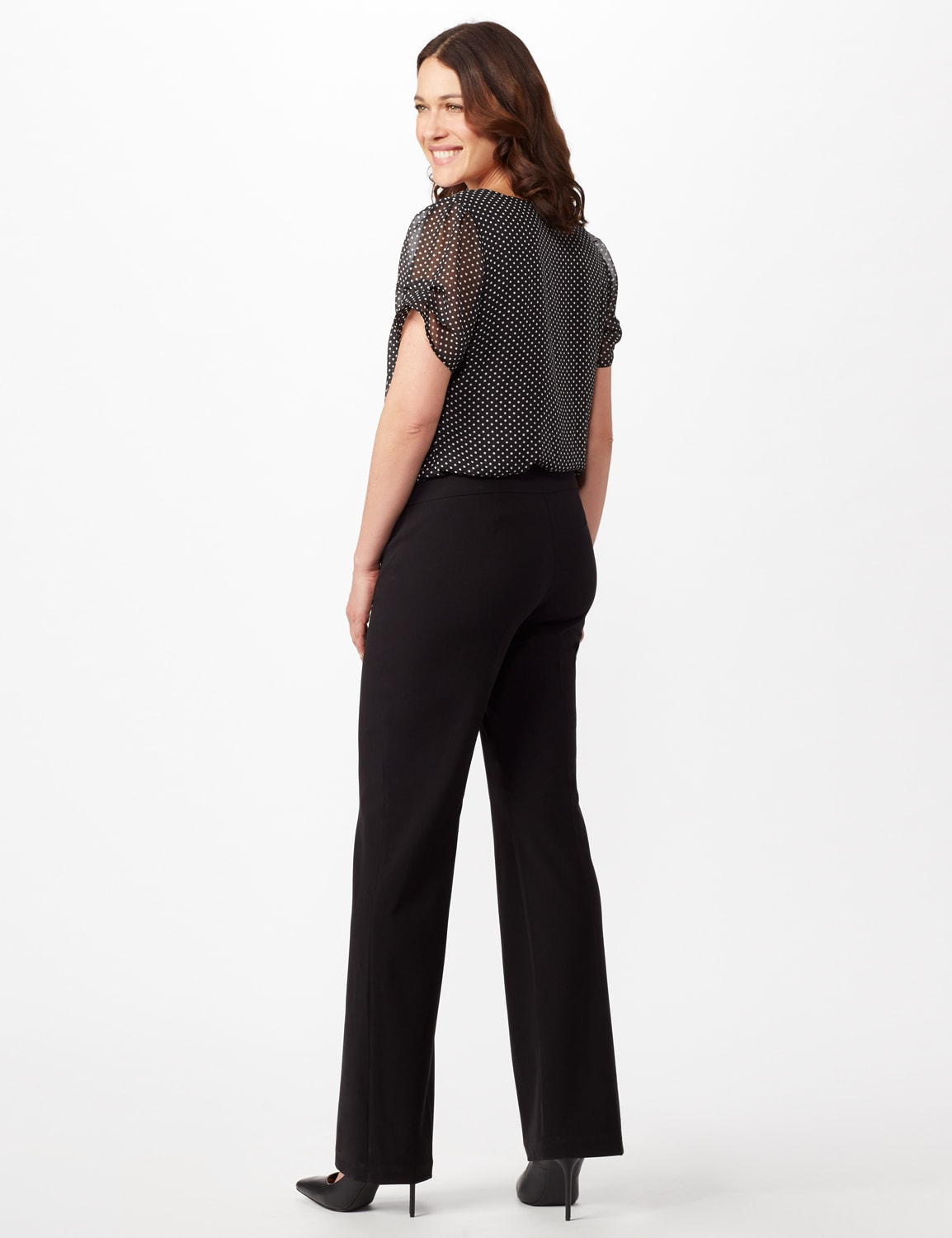 Roz & Ali Secret Agent Pull On Tummy Control Pants - Tall Length - Misses - Black - Back