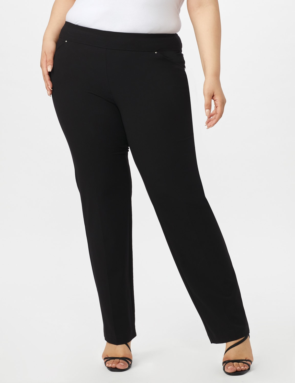 Roz & Ali Plus Secret Agent Tummy Control Pants Cateye Rivets - Average Length - Plus - Black - Front