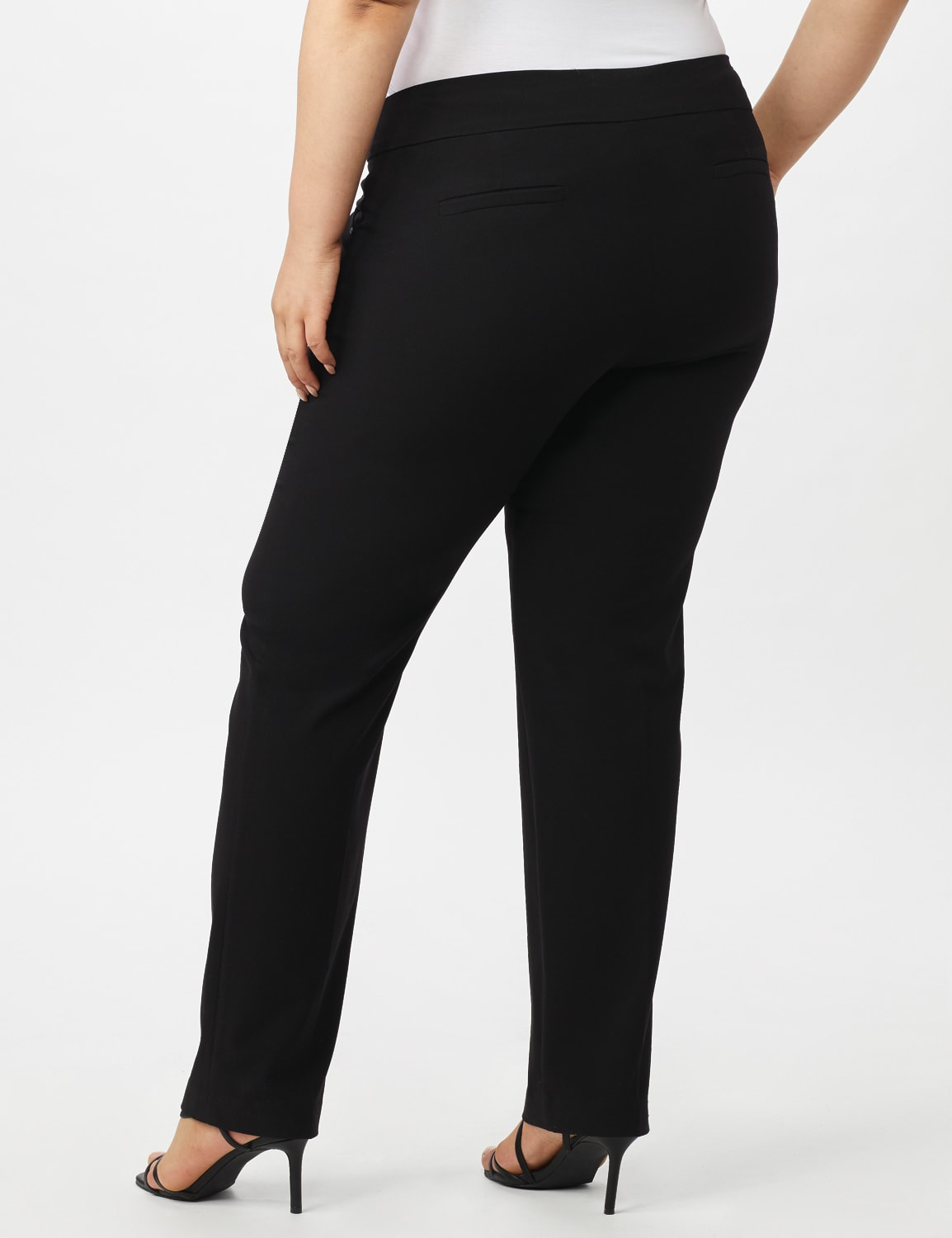 Roz & Ali Plus Secret Agent Tummy Control Pants Cateye Rivets - Average Length - Plus - Black - Back