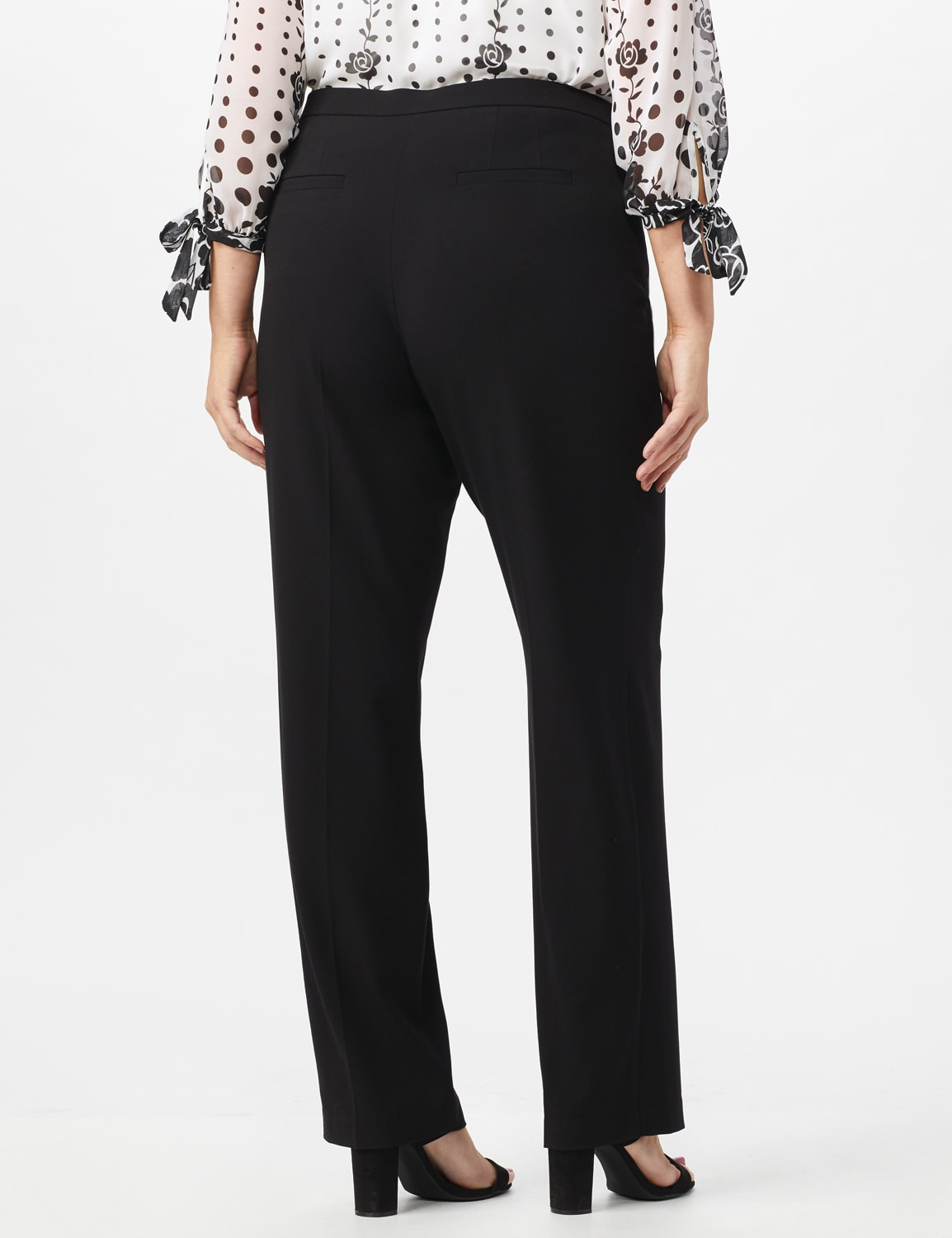 Roz & Ali  Plus Secret Agent Trouser  Pants with Cat Eye Pockets & Zip - Black - Back