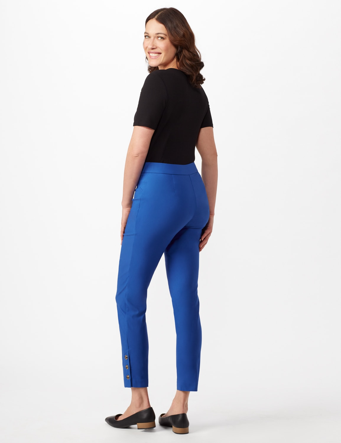 Tortoise Shell Button Ankle Pants - Royal - Back