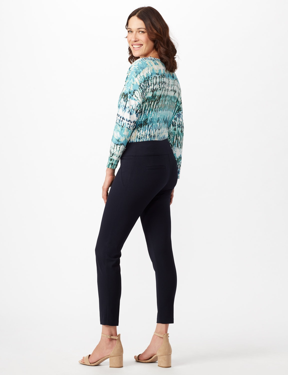 Solid Button Tab  Pull On Pants - Navy - Back