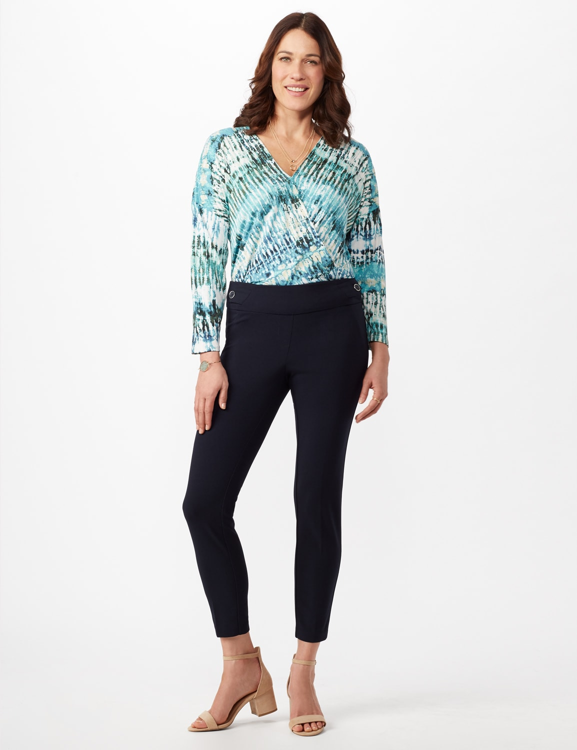 Solid Button Tab  Pull On Pants - Navy - Front