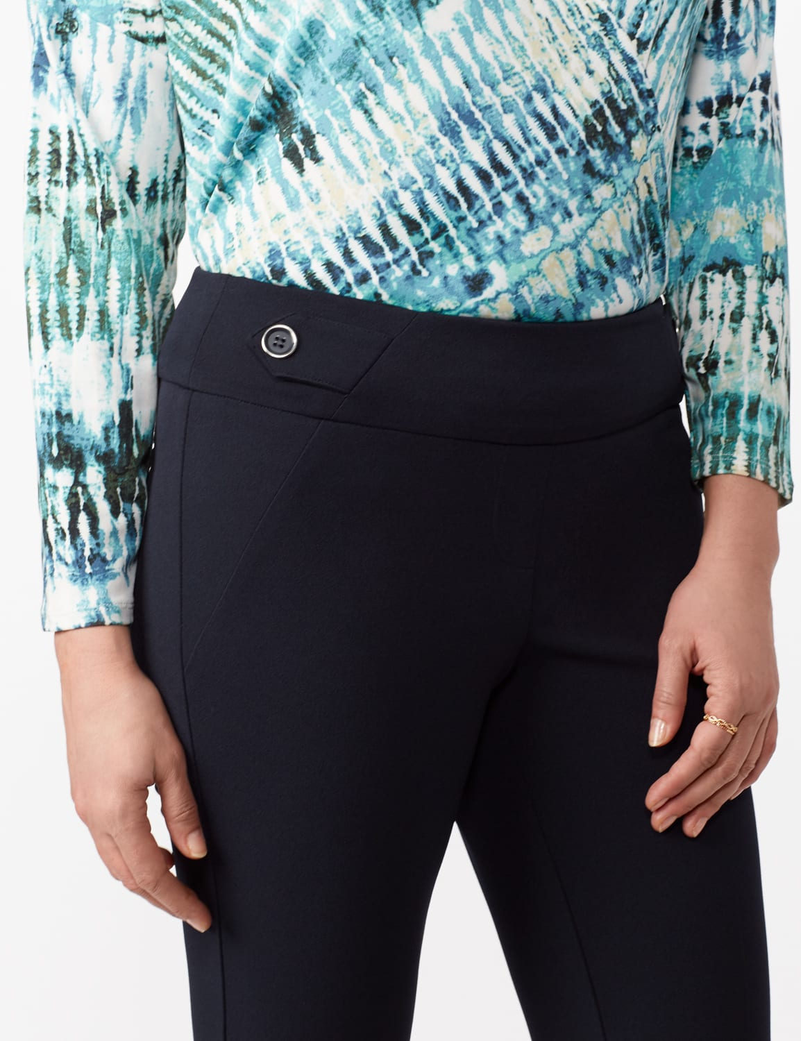 Solid Button Tab  Pull On Pants - Navy - Detail