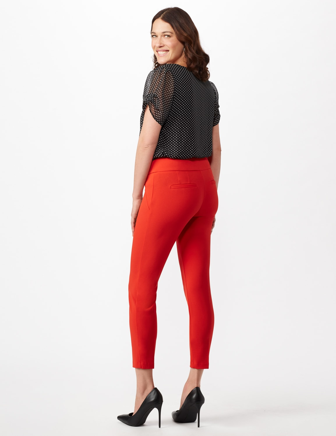 Solid Button Tab  Pull On Pants - Tomato - Back