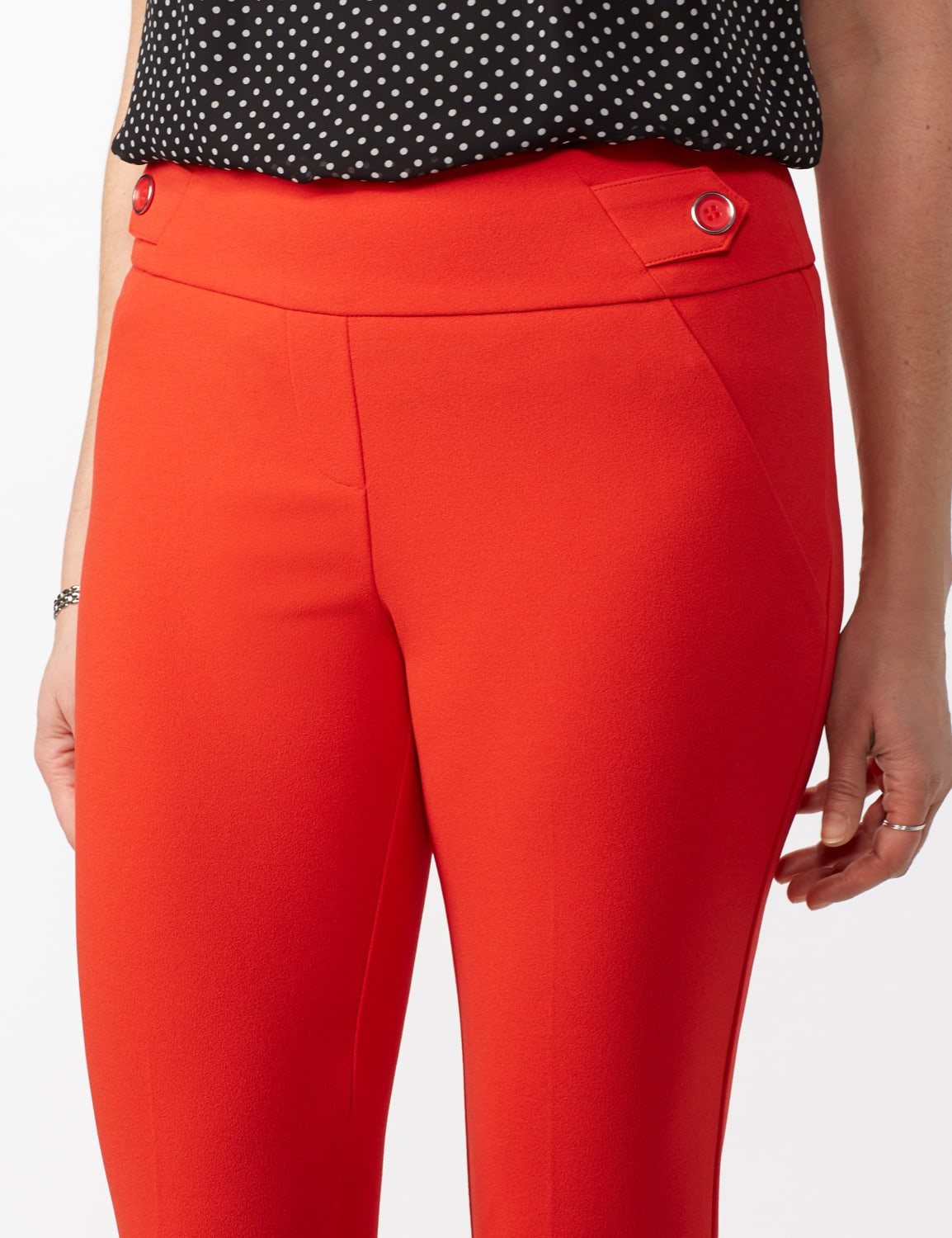 Solid Button Tab  Pull On Pants - Tomato - Detail
