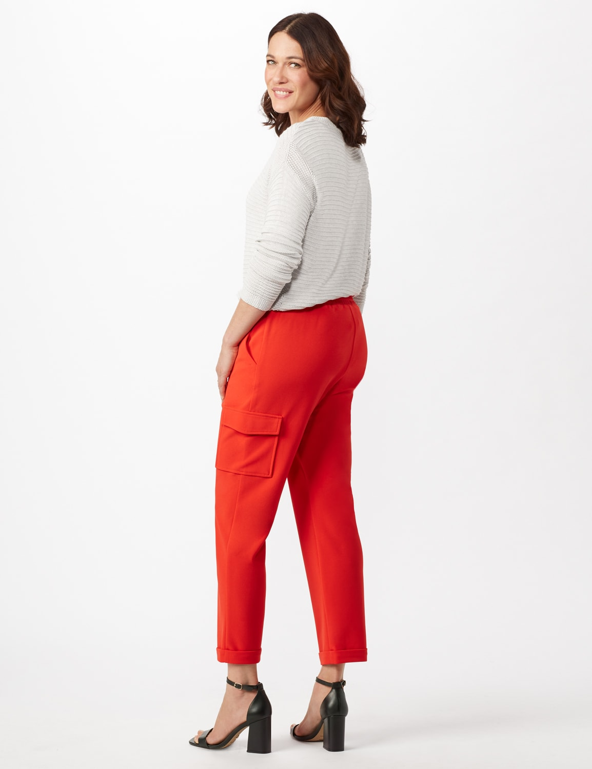 Drawstring Ankle Length Cargo Pants - Tomato - Back
