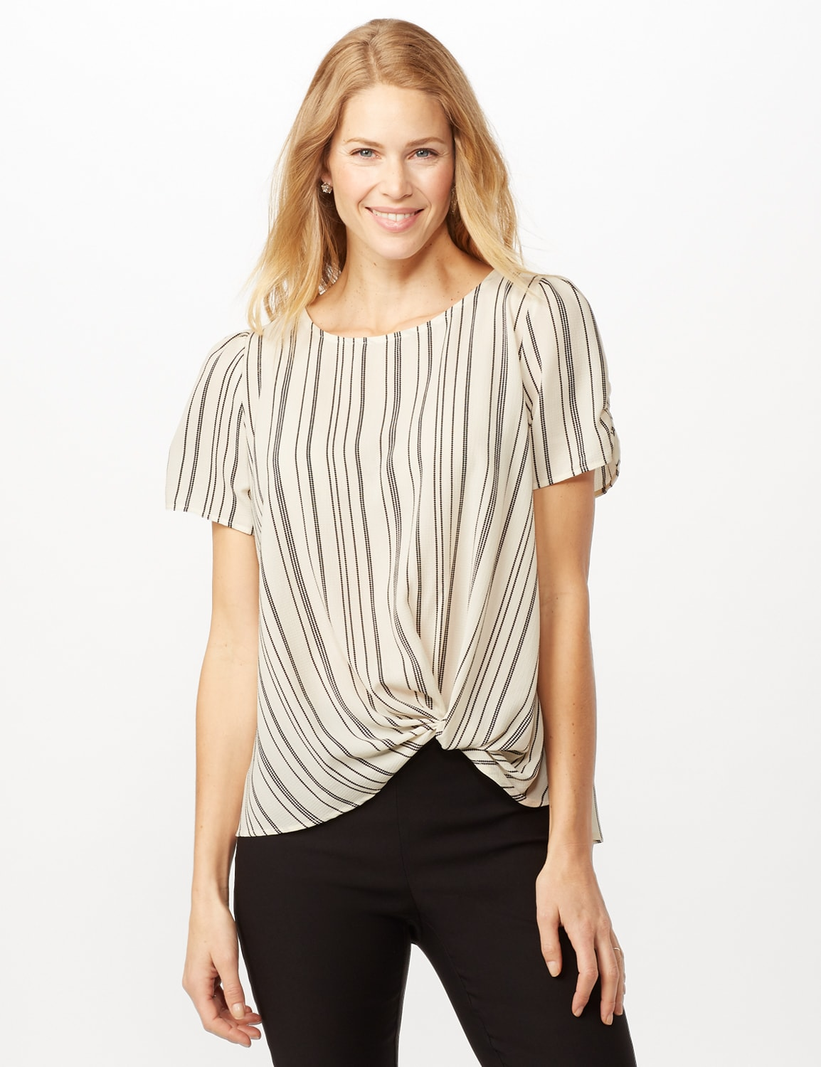 Short Sleeve Cinched Sleeve and Knot Stripe Woven Top - Ivory/Black - Front