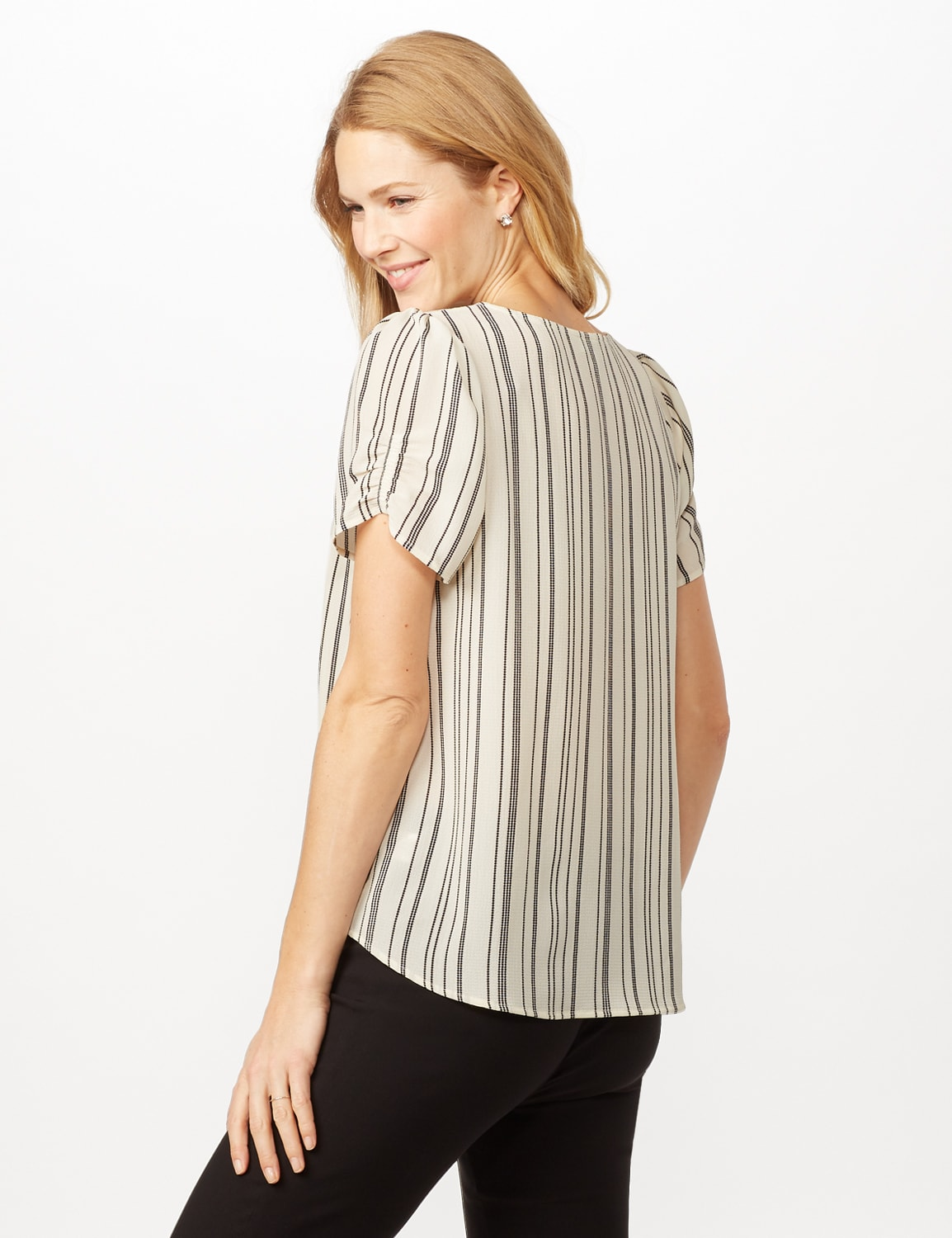 Short Sleeve Cinched Sleeve and Knot Stripe Woven Top - Ivory/Black - Back