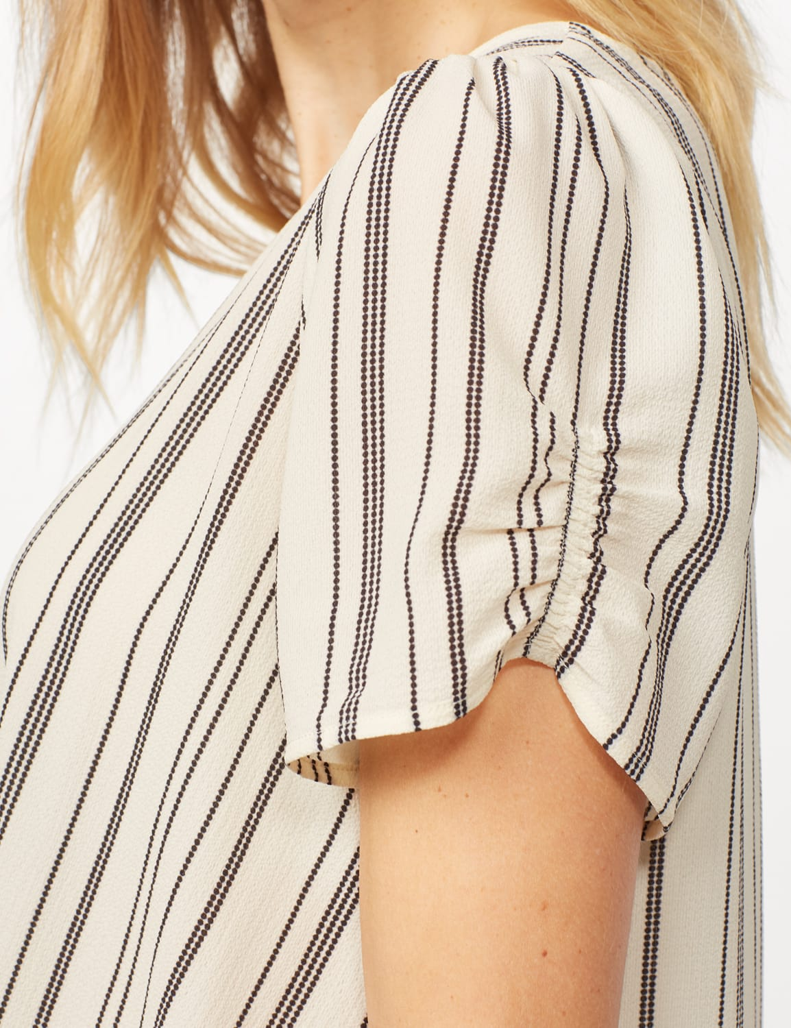 Short Sleeve Cinched Sleeve and Knot Stripe Woven Top - Ivory/Black - Detail