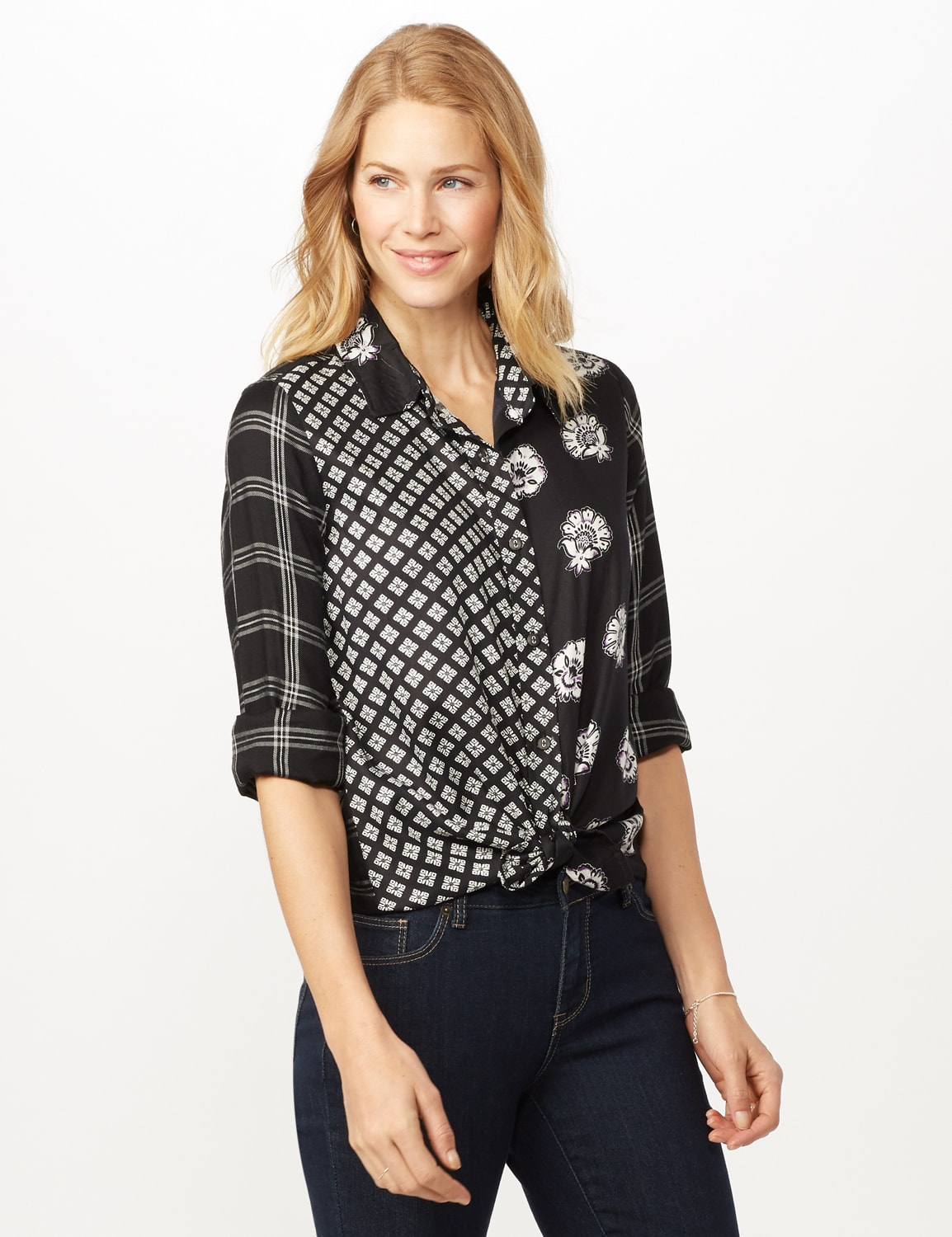 Long Sleeve Mixed Media Print Woven Top - Black/grey - Front