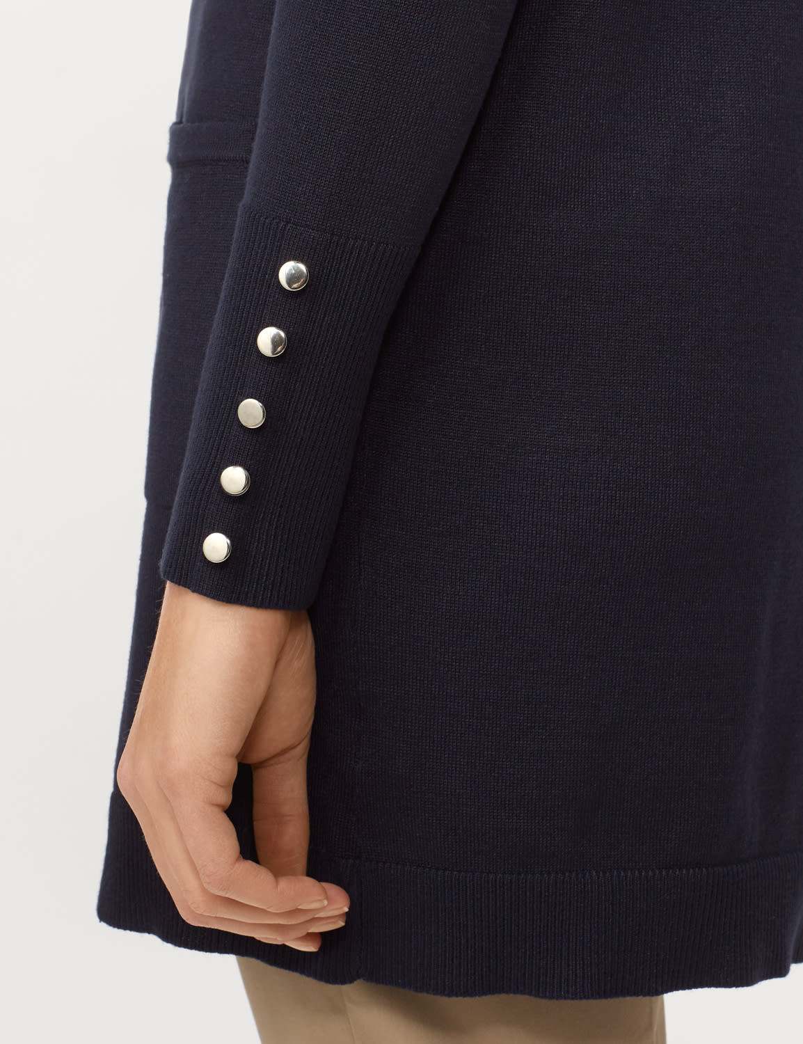 Long Sleeve Two Pocket Button Trim Duster Cardigan - Navy - Detail