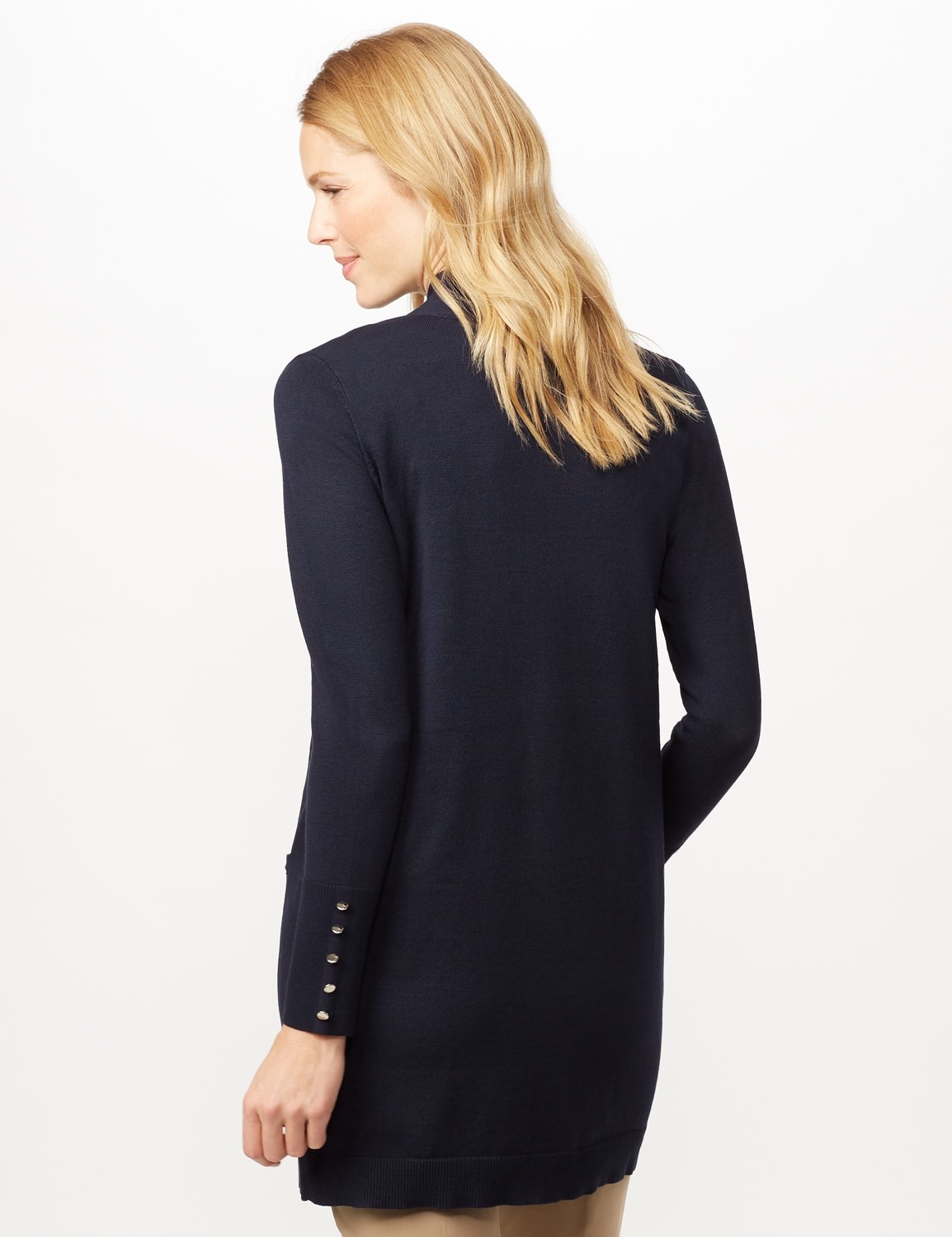 Long Sleeve Two Pocket Button Trim Duster Cardigan - Navy - Back