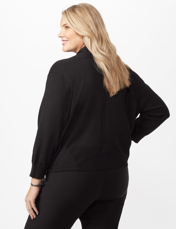 3/4 Tie Front Dress Topper - Black - Back