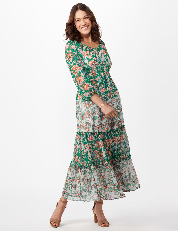 Chiffon Mixed Print Peasant Dress - Green/Pink - Front