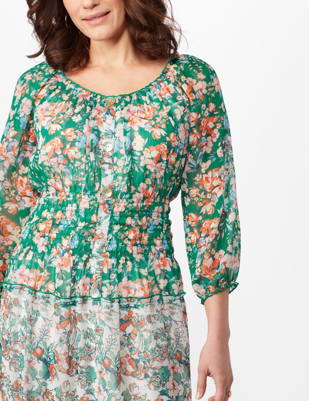 Chiffon Mixed Print Peasant Dress - Green/Pink - Detail