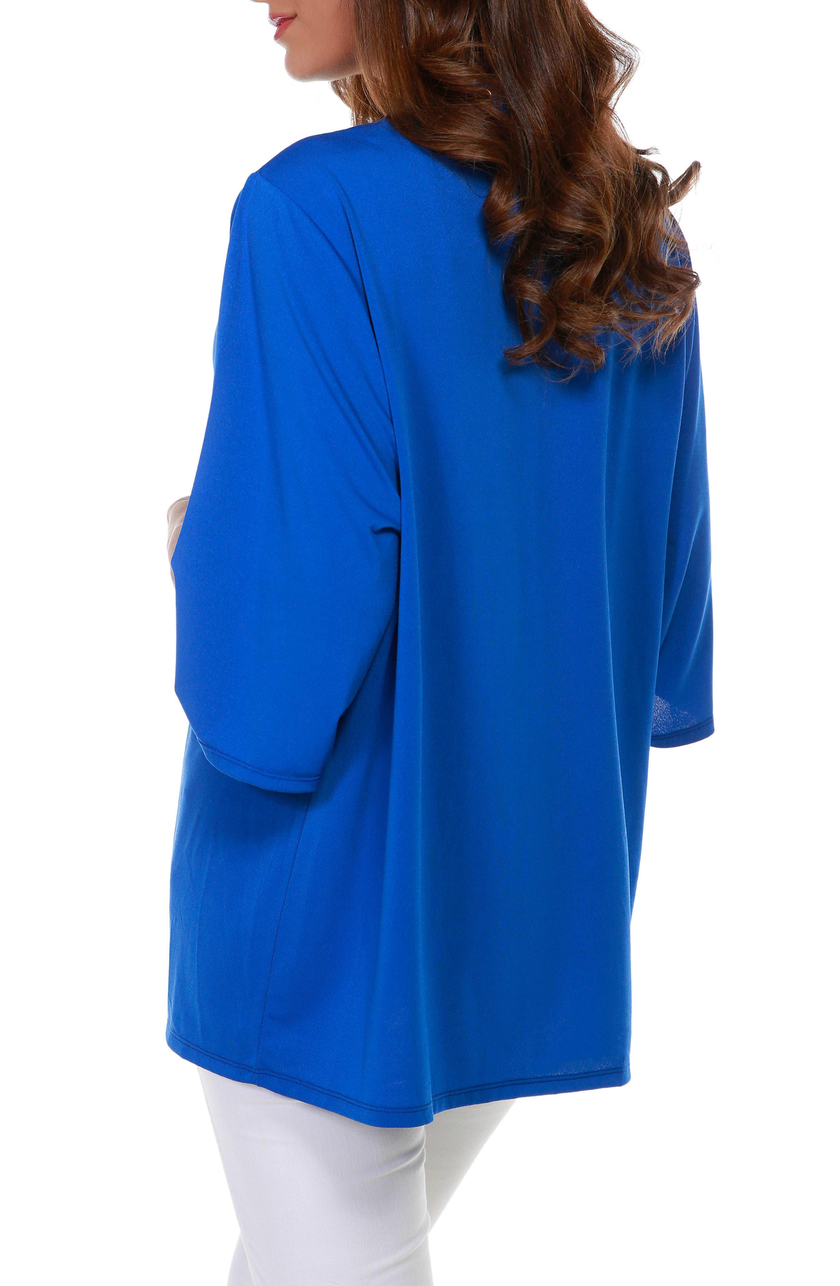 3/4 Sleeve Grommet Trimmed Cardigan - Misses - Cerulean Blue/Gold - Back