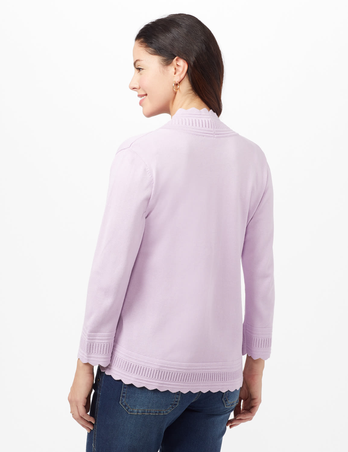 Scallop Trim Cardigan - Spring Orchid - Back