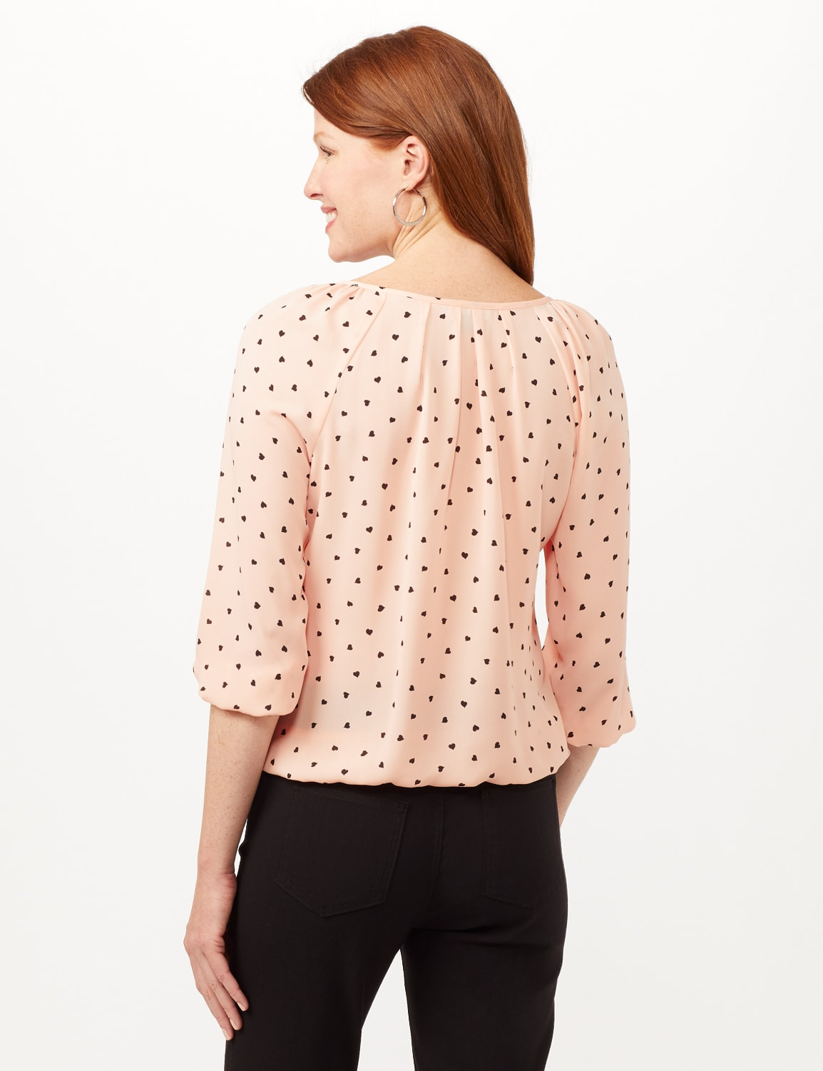 Heart Print Pleat Neck Blouse - Blush - Back