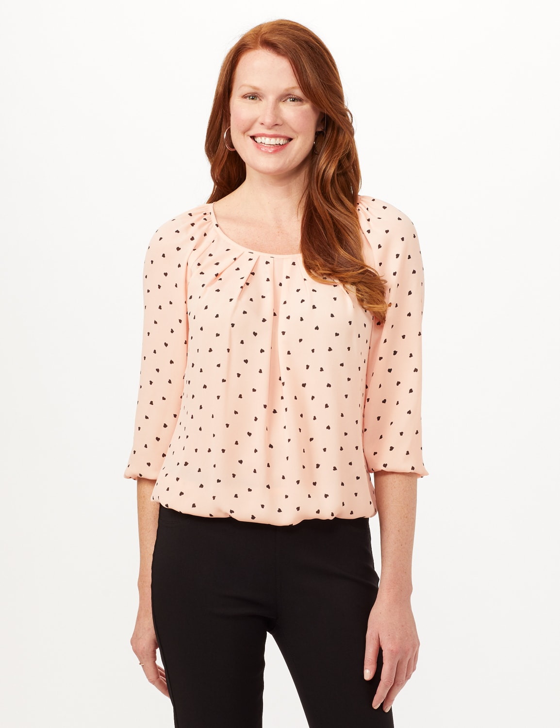 Heart Print Pleat Neck Blouse - Blush - Front