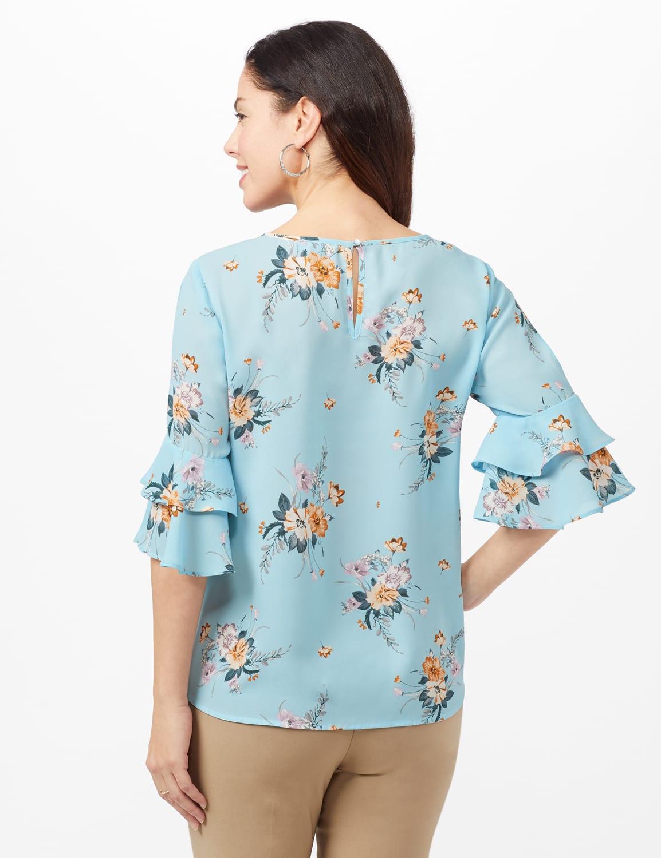 Pre-Order Cold Shoulder Floral Tie Front Blouse - Aqua - Back