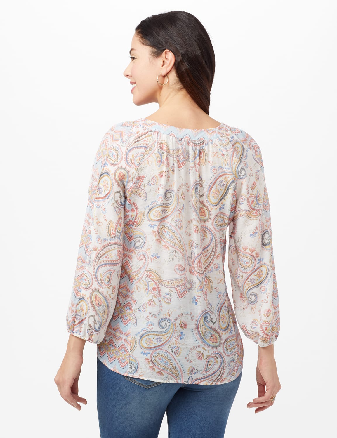 Paisley Peasant Top - Blue/Yellow - Front