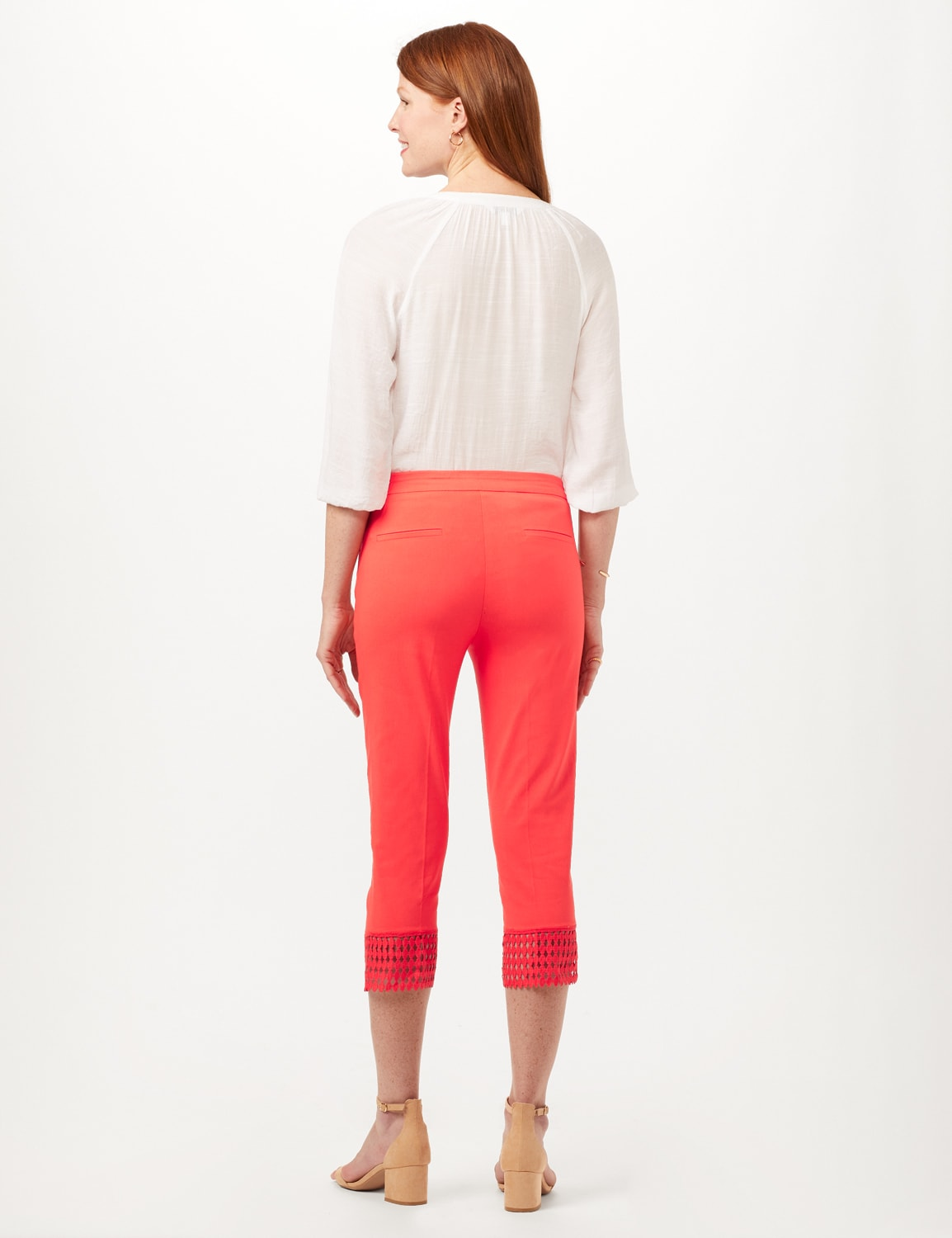 Pull-On Crop Pants with Crotchet Hem Detail - Coralicious - Back