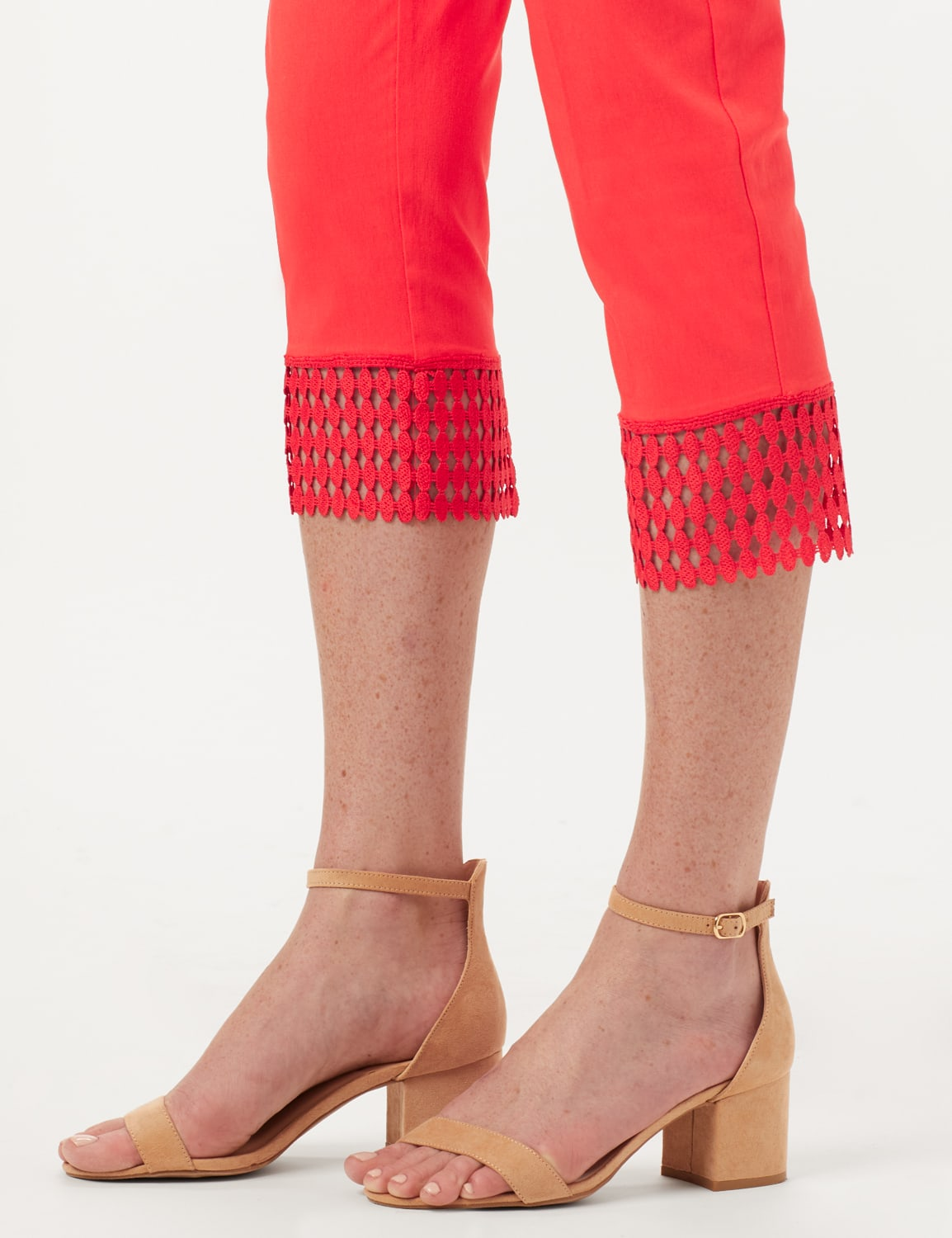 Pull-On Crop Pants with Crotchet Hem Detail - Coralicious - Detail