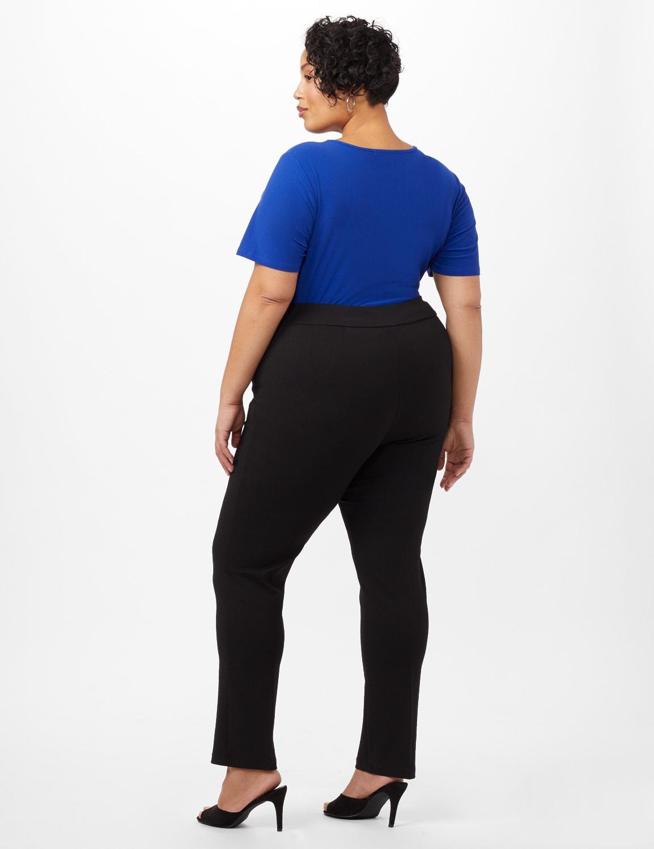 Grommet Trim Faux Pocket Pull-On Pants - Black - Back