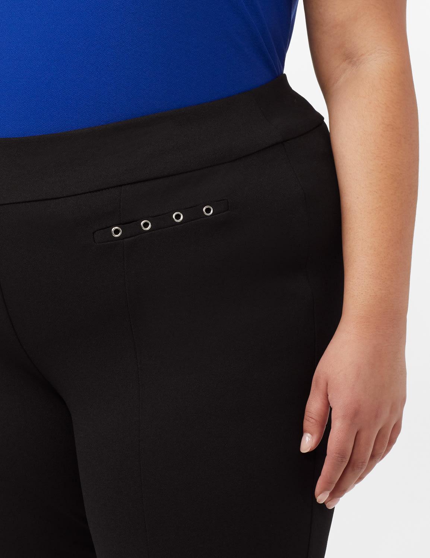 Grommet Trim Faux Pocket Pull-On Pants - Black - Detail