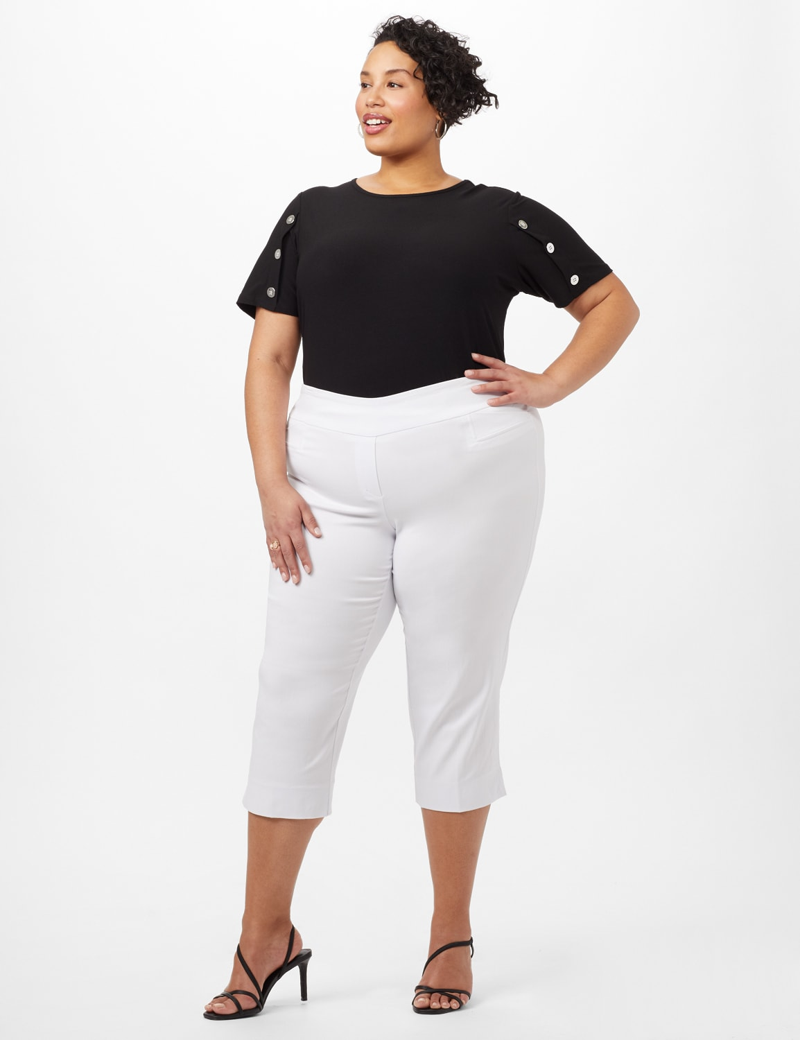 L-Pocket Pull-On Crop Pants - Optic White - Front