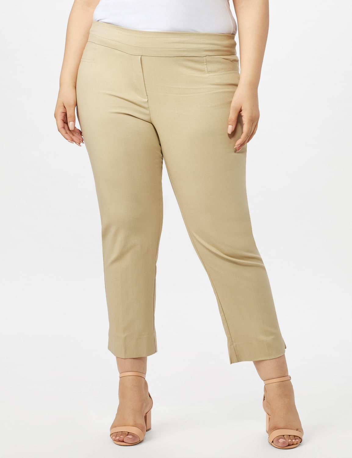 Plus - L-Pocket Pull-On Crop Pants - Chino - Front