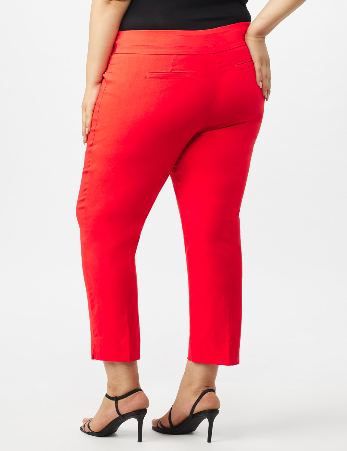 Plus - L-Pocket Pull-On Crop Pants - Coralicious - Back