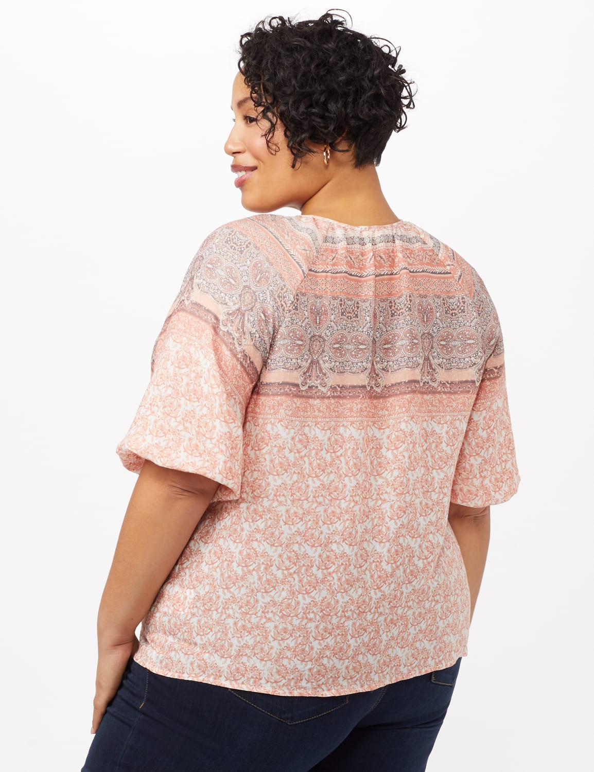 Placed Print Peasant Top - Coral - Back