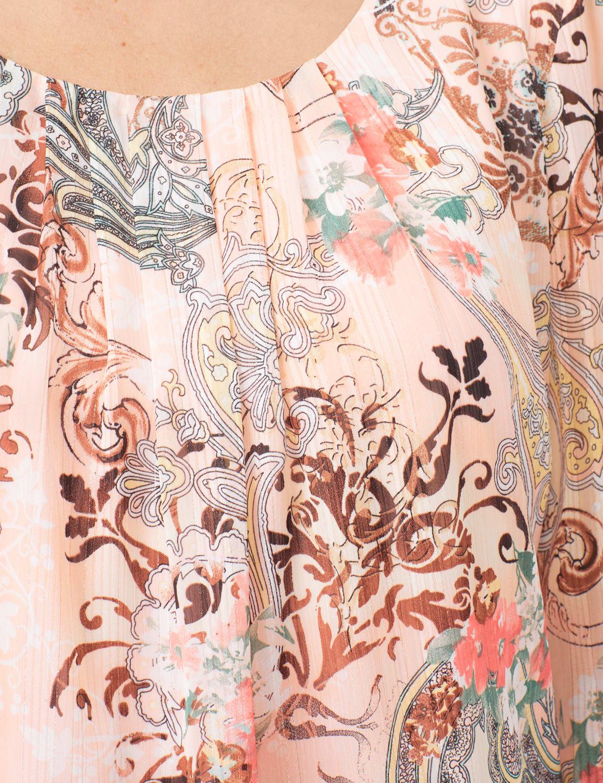 Tie Sleeve Lurex Bubble Hem Blouse - Coral - Detail