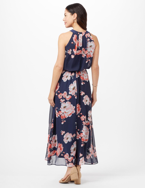 Floral Chiffon Elastic Waist Maxi Dress - Navy/Coral - Back