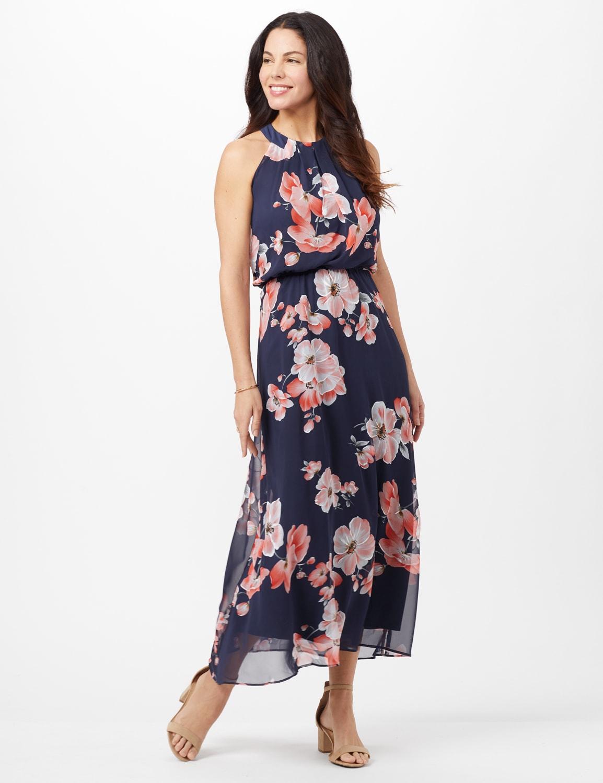 Floral Chiffon Elastic Waist Maxi Dress - Navy/Coral - Front