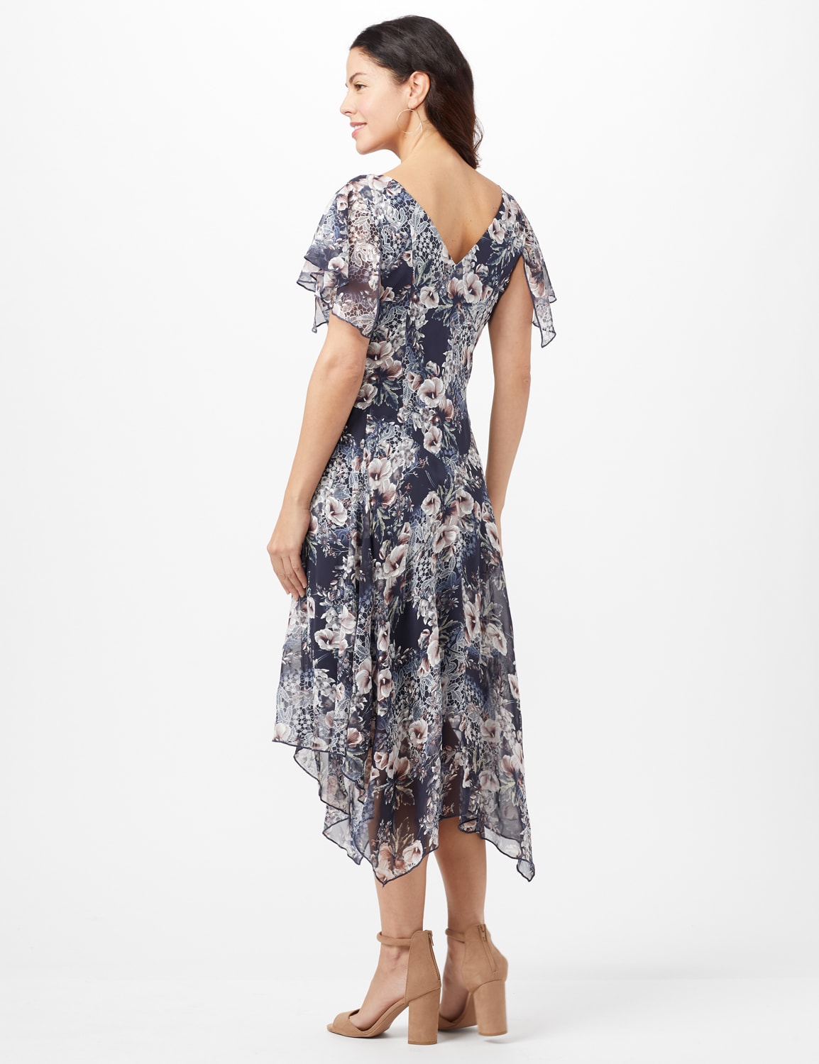 Floral Chiffon Drape Neck Hanky Hem Dress - Misses - Navy/Mauve - Back