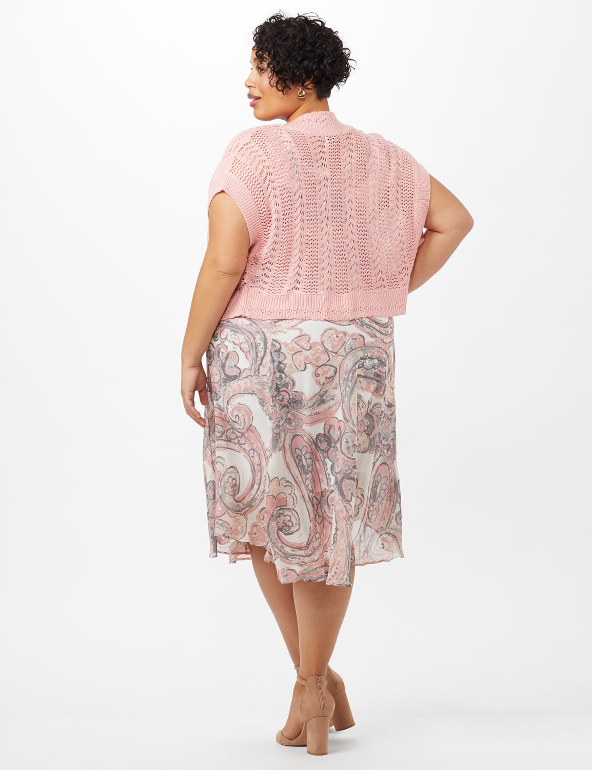 Crochet Sweater Drape Neck Chiffon Dress - Grey /Pink - Back